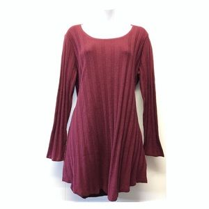 Style & Co | Burgundy Ribbed Long Sleeve Dress EUC